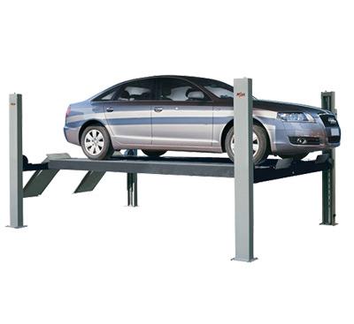 4 Säulen Hebebühne - So kann das Fahrzeug auf zwei Fahrspuren direkt auf die Bühne gefahren werden